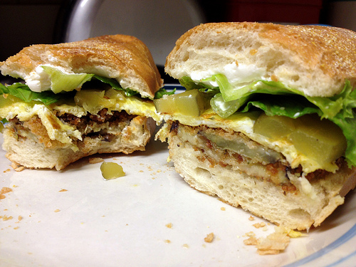 fried eggplant egg sandwiches