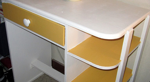 desk with paint
