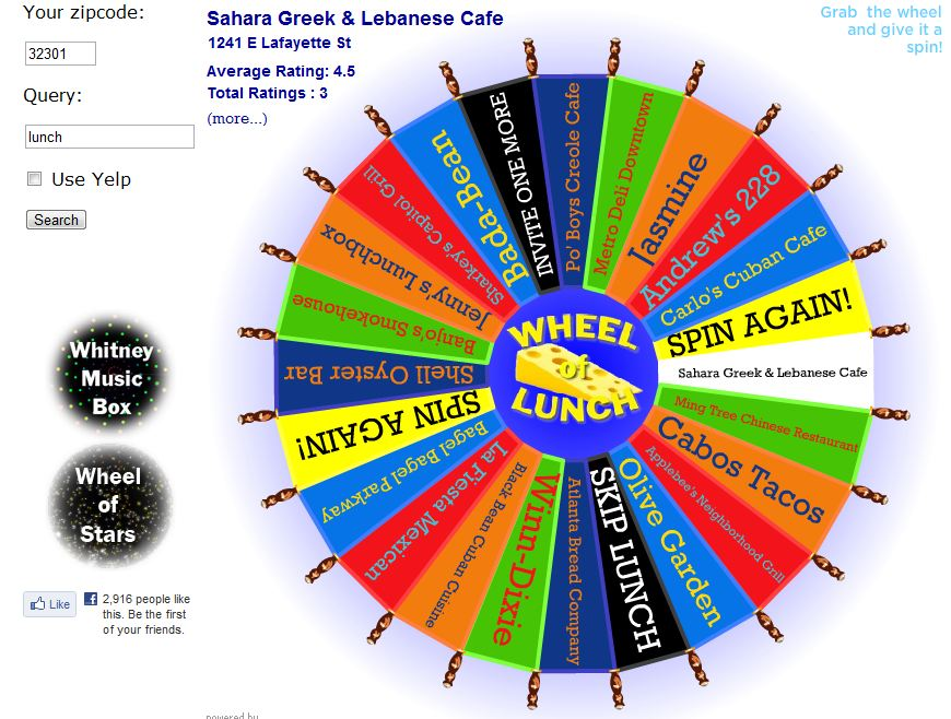 just for fun wheel of lunch a week from thursday